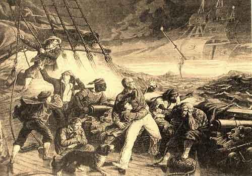Моряки напуганные внезапным появлением Летучего Голландца