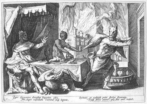 король Ликаон превращается в оборотня Богом