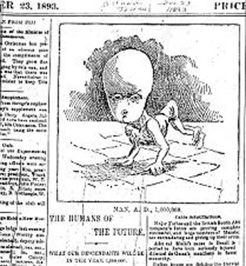 статьи под названием «Люди будущего какие наши потомки будут в году 1 000 000». 23 декабря 1893 года, напечатан в Оттавском журнале.