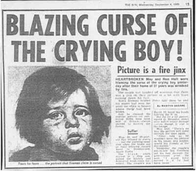 Огненное проклятие плачущего мальчика художника Джованни Браголини
