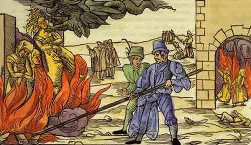 Сцена инквизиции, ведьмы на костре, средневековая гравюра