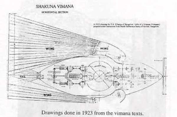 чертеж Виманы, древнего средства для полетов