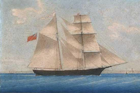 Рисунок корабля «Амазонка» позже переименованного в «Мария Селеста»