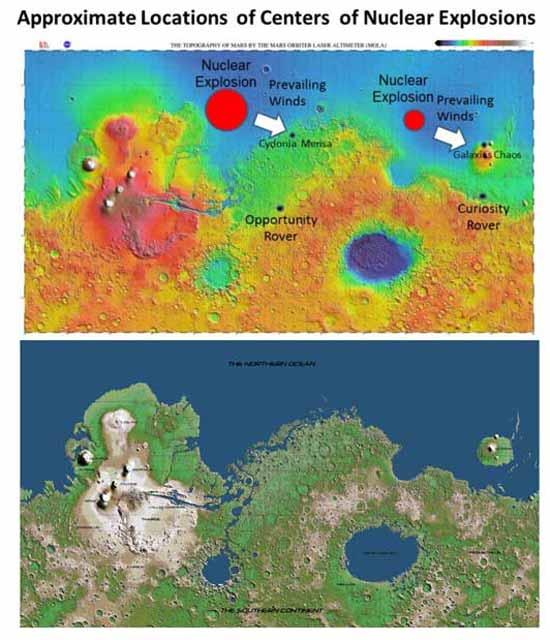гуманоидная цивилизация оставила несколько мест в руинах, таких как Cydonia Mensa и Galaxias Chaos